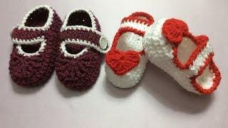 Móc giầy cho bé ( phần 1). Crochet baby shoes
