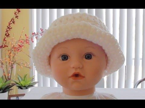 Quick Crochet Baby Hat with Brim - Crochet Baby Hat - YouTube