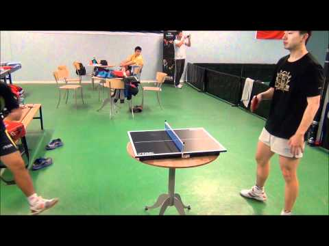 Liu Guoliang vs. Ma Long in mini table tennis!