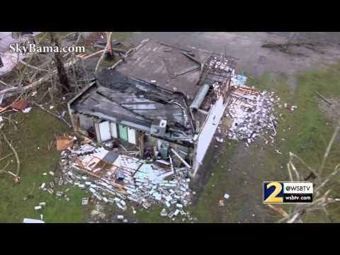 RAW: Drone video shows tornado damage in Birmingham