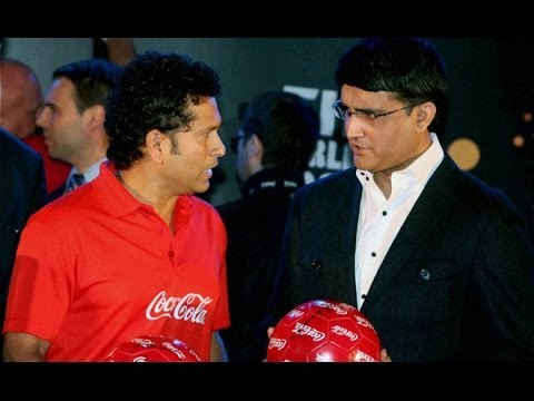 Live : Sachin Tendulkar & Sourav Ganguly with FIFA World Cup Trophy