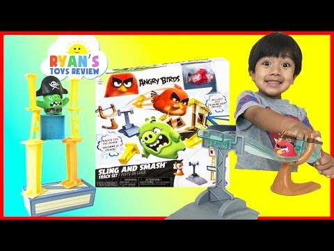 Angry Birds Sling and Smash Track Set Red and Chuck McDonald Happy Meal Toys Ryan ToysReview