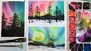 Aurora Borealis (Northern Lights) 3 Ways in Watercolor!