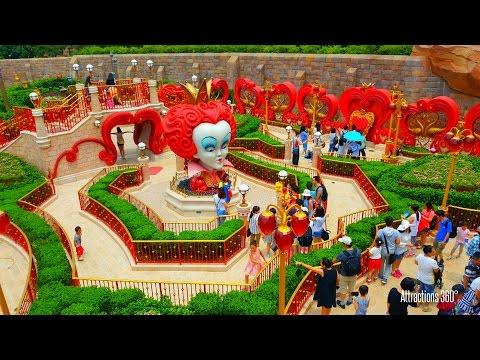 [HD] Shanghai Disneyland Maze Walk-through - Alice in Wonderland Maze