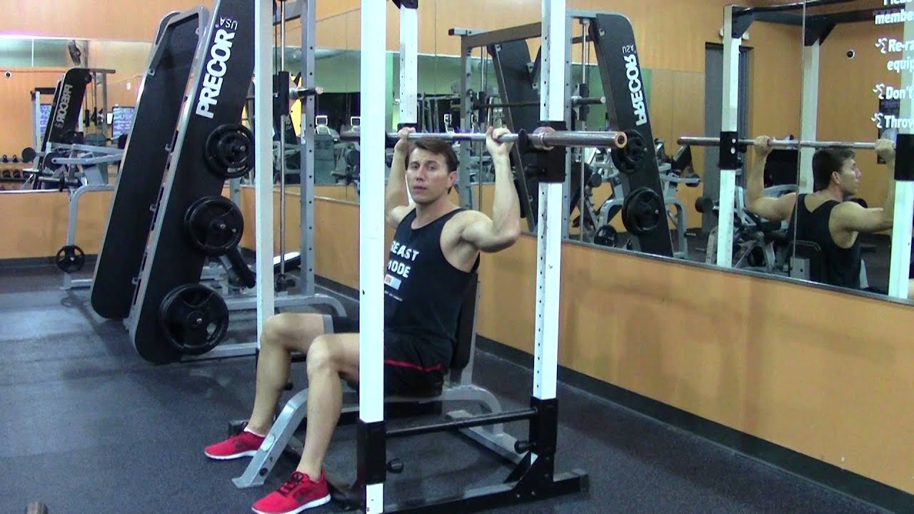 Best Exercise Machine For Home >> Seated Barbell Military Press or Barbell Shoulder Press - HASfit Shoulder Exercise Demonstration ...