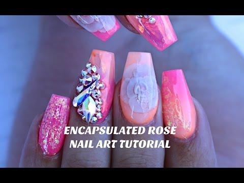 HOW TO: ENCAPSULATED NAIL ROSE & NEON OMBRE / MERMAID MYLAR nail art tutorial