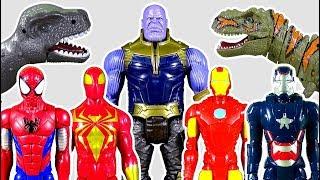 Thanos and Dinosaurs Appeared! Go Spiderman Toys, Iron Man Toys! - LotsMoreToys