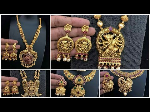 Latest Gold Design South Indian Necklace with matching earring