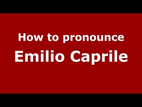 Audio and video pronunciation of Emilio Caprile brought to you by Pronounce Names (http://www.PronounceNames.com), a website dedicated to helping people pronounce names correctly. For more...