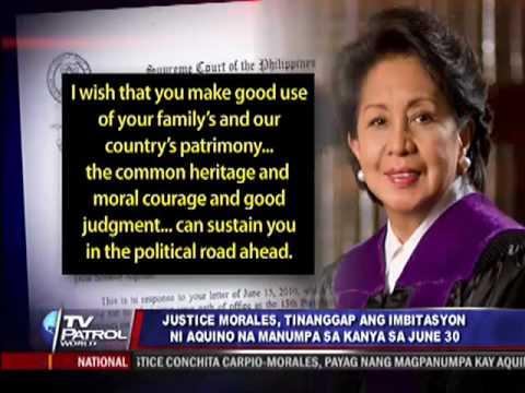 Pormal nang tinanggap ni Associate Justice Conchita Carpio-Morales ang imbitasyon ni president-elect Noynoy Aquino na manumpa sa kanya sa Hunyo 30. Sa kanyan...