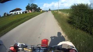 Dirtbike Rider Almost Hited Dog Close Call