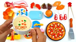 Velcro Food Toy Cutting Pizza Hamburger Plastic Cooking Playset for teaching children