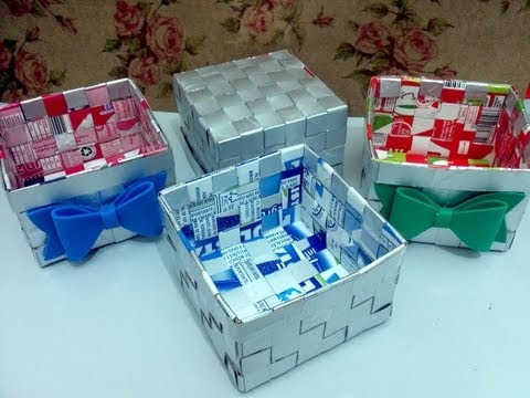 Cesta com caixa de leite - Artesanato - Reciclagem - Passo a passo - Tutorial - Diy