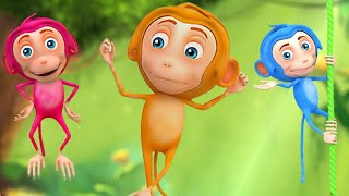 5 Little Monkeys - 3D Music Video for Children - Kids Songs Nursery Rhymes
