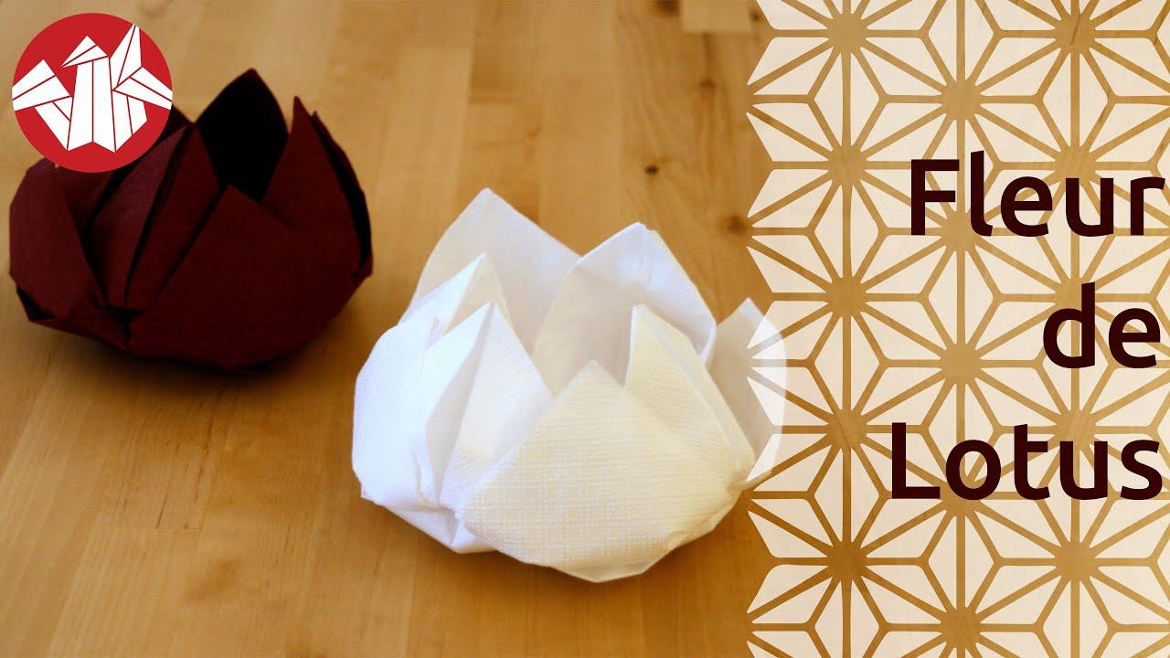 Origami fleur de lotus lotus flower youtube - Plier serviette de table ...