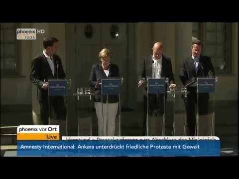 Vierer-Gipfel in Schweden: Pressekonferenz mit Merkel und Cameron am 10.06.2014