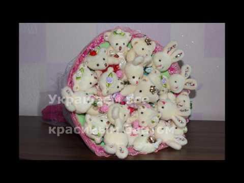 Как сделать букет из игрушек с конфетами
