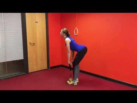 Становая тяга на прямых ногах с эспандером