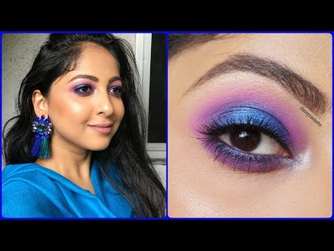 #9DAYSOFMAKEUP | BLUE Halo Eyemakeup | Makeup for Festival/Navratri/Weddings | Stacey Castanha