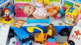 Tayo Bus car Hospital play and Baby doll doctor toys Ambulance play - 토이몽