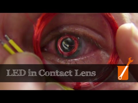 LED mounted in a contact lens for possible virtual / augmented reality displays