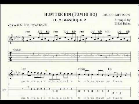 Piano tabs for tum hi ho