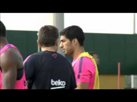 Luis Suárez trains for the first time with FC Barcelona 15.8.2014