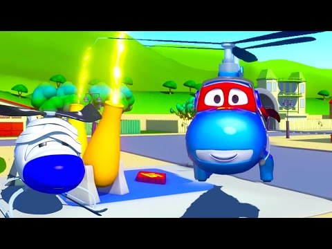 Carl Transform and the Helicopter in Car City | Cars &Trucks construction cartoon (for children)
