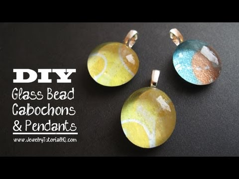 Glass And Paper Cabochon Pendants Tutorial Youtube