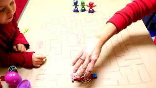 DIY Maze Drawing Pretend Play PJ Masks Thor Rubble Simon's Creepy Hand Video