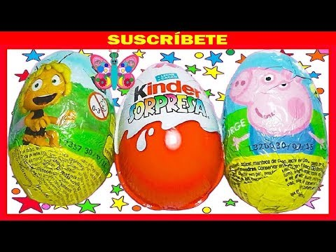 3 HUEVOS SORPRESA. ABEJA MAYA. PEPPA PIG Y MAGIC KINDER PRINCESAS COLECCIÓN 2013. KINDER SURPRISE