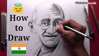 How to Draw Mahatma Gandhi Step by step for Beginners !