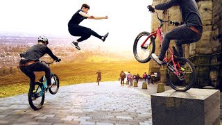 Bike vs Parkour Race through Edinburgh Scotland! 8K!