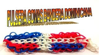 COMO HACER PULSERA DE GOMAS CON LA BANDERA DOMINICANA.HOW TO MAKE RUBBER BRACELETS DOMINICAN FLAG