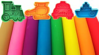 Learn Colors with 8 Color Play Doh Modelling Clay with Transport Molds Surprise Toys Yowie