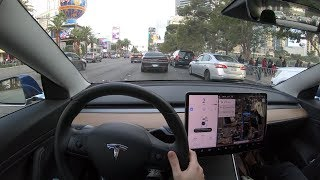 Tesla Navigate on Autopilot - LA to Vegas via I-15 North - Timelapse