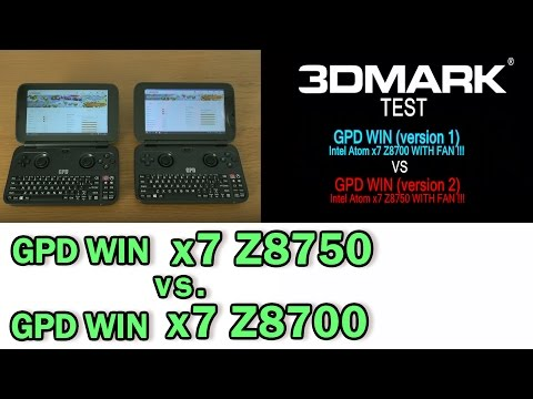 5.5'' GPD Win V2 (Version 2) Intel x7 Z8750 vs. GPD Win (Version 1) Intel x7 Z8700 3DMarks test