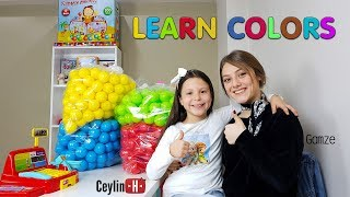 Gamze ablamdan top havuzu satın aldım. My Ball Pool Learn colors wheels on the bus finger family