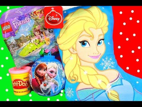 Surprise Christmas Stocking Disney Frozen Elsa Play-doh Stuffers Lego Friends Princess Girls Toys video