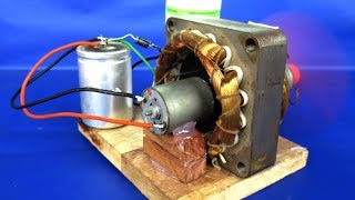 New free energy electric dc motor generator 220v AC to 12V DC - DIY Experiments projects at school