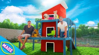We Made a 3 Story Dog House in J-Fred's Backyard!!