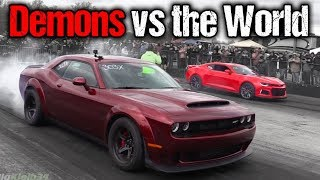 Dodge Demon Takes on EVERYTHING! Camaro ZL1, GT350, Corvettes, Much More!