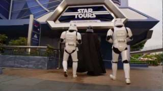 Darth Vader goes to Disneyland as he waits for Star Tours to open - Commercial