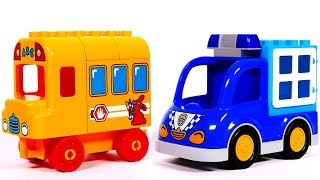 Ice Cream Truck Police Car and School Bus Building Blocks for Kids Toys for Children