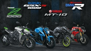 TOP SPEED NAKED BIKE 1000 CC : Z1000 VS MT-10 VS GSX-S1000 VS CB1000R VS S1000R