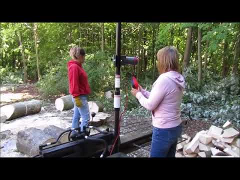 Girls go wild with Grandpa's log splitter and Gorillabac log lifter.