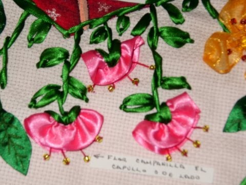 DIY Cómo hacer la flor de campanilla en capullo, bordando en listón.