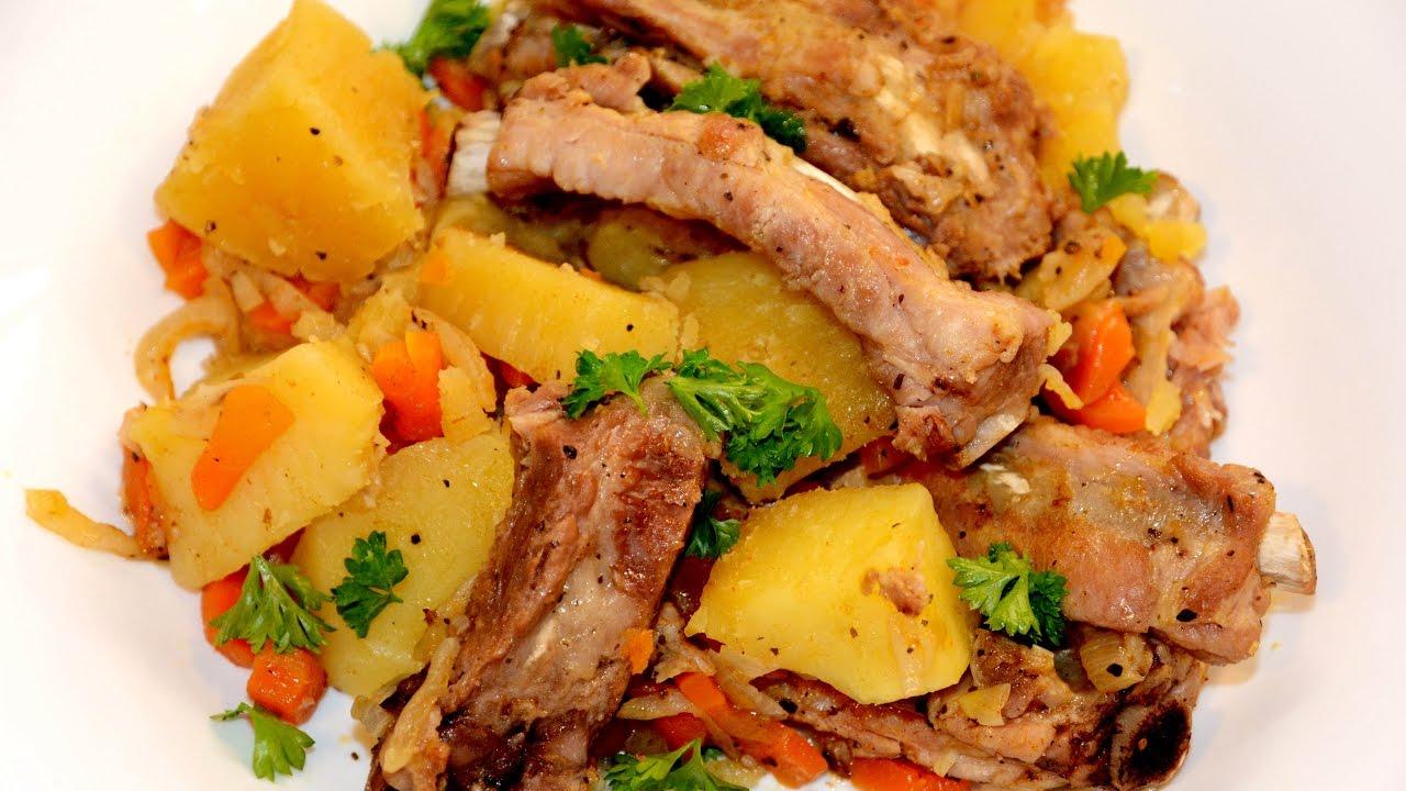 Свиные ребрышки с картошкой в мультиварке редмонд рецепты с фото пошагово