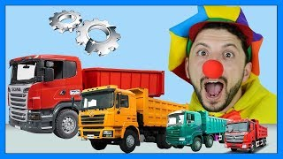 Funny Clown Bob | Learn Construction vehicles Truck - Magic Tricks for kids | Video for kids
