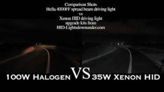 Standard 100w Halogen verses our various HID Xenon upgrade kits